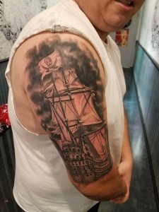 Black and Grey Ship Cover-up