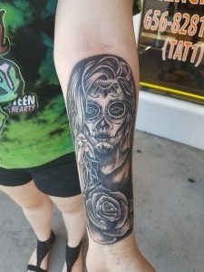 Black and Grey Day of the Dead Portrait